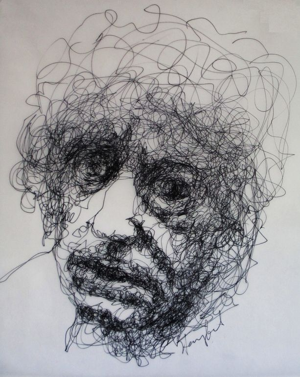 Ink Line Drawing Artists : Brett whiteley contemplates old age drawing by harry kent