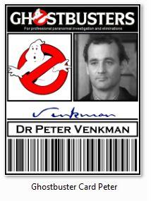 Carte Identification Ghostbusters SOS Fantomes Peter Venkman - Films Fantastiques/Ghostbusters / SOS Fantômes - Logostore