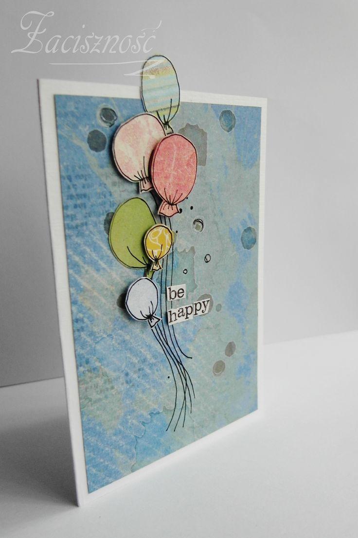 Ręcznie robiona kartka z kolorowymi balonikami/ Handmade card with balloons