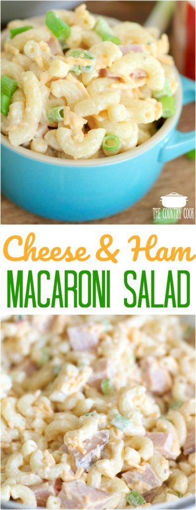 Pimiento Cheese and Ham Macaroni Salad recipe from The Country Cook #pasta #salads #recipes #ideas #easy