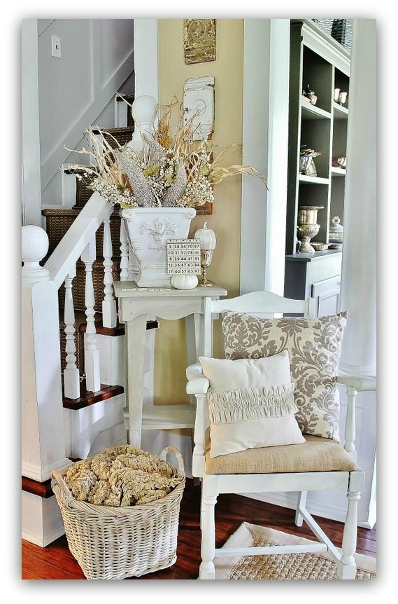 I'd white wash my whole house if my husband would let me!!   Fall home tour of a vintage farm house!  Tons of great decorating ideas!