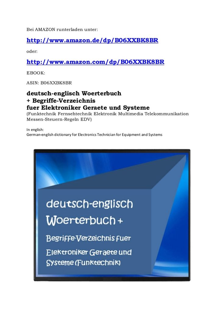 German-english dictionary for electronics technician for equipment and systems