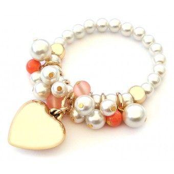 Pulsera con Perlas y Dije de Corazón