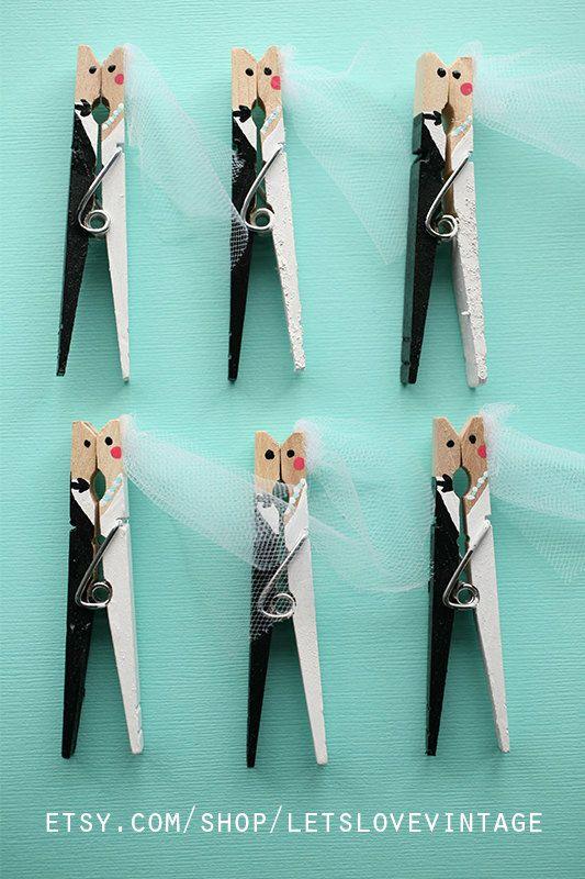 Custom Bridal Shower Favors - Wedding Favors - 25 Handpainted Clothespins