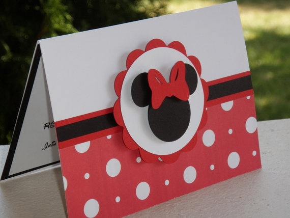 MINNIE MOUSE Red and White Polka Dot Card