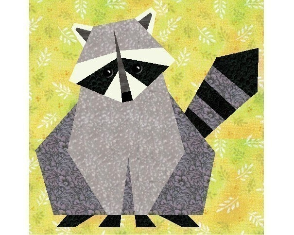 Raccoon paper pieced quilt block pattern by PieceByNumberQuilts