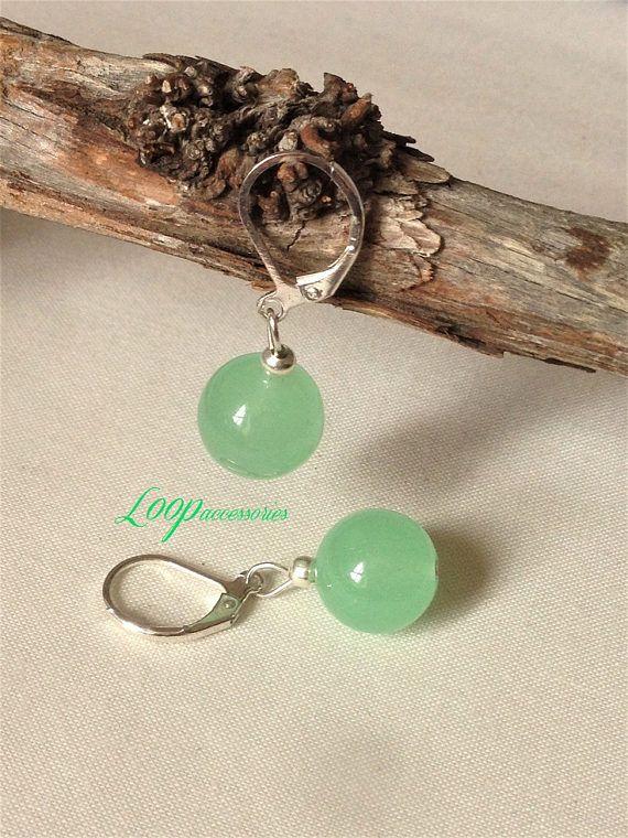 Jade Earrings/Simple Gemstone Earrings/Sterling