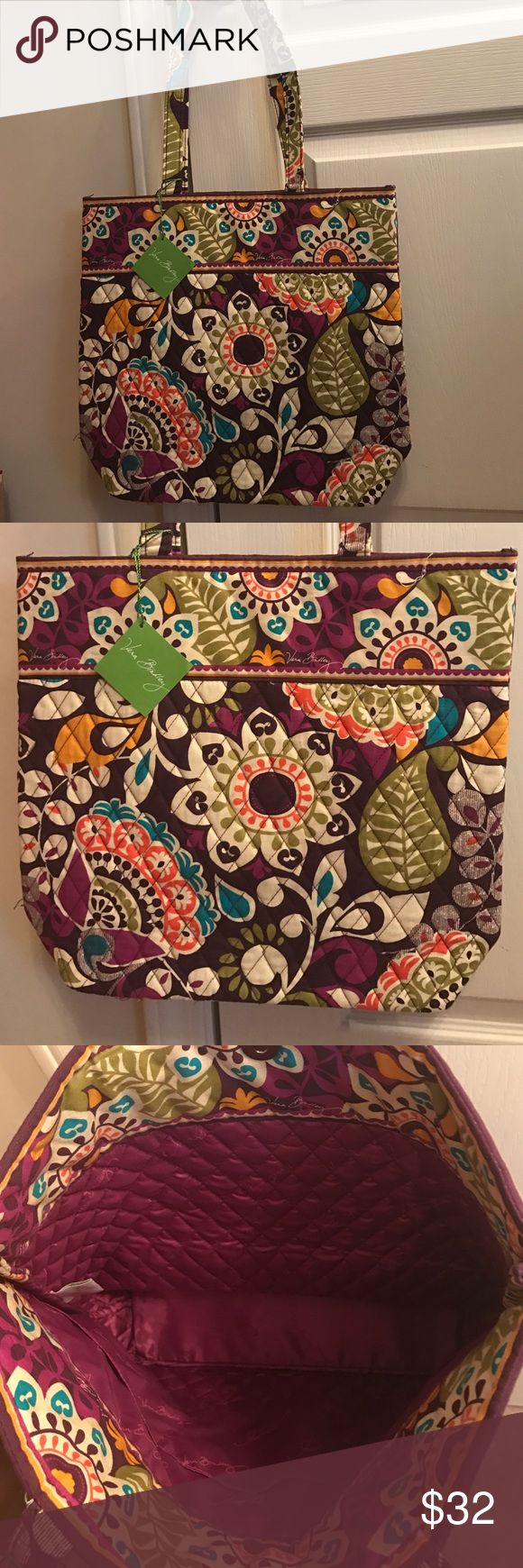NWT Vera Bradley tote bag in plum crazy NWT Vera Bradley tote bag in plum crazy Vera Bradley Bags Totes