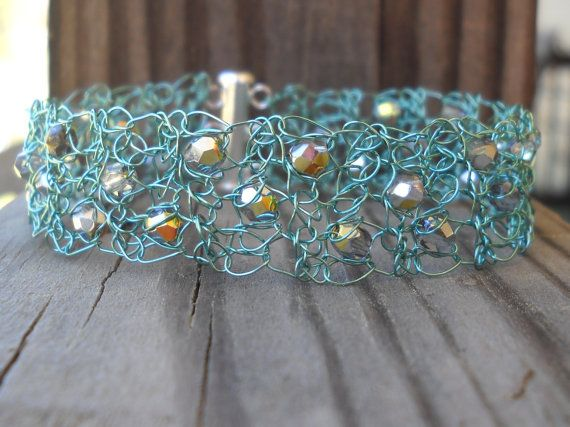 Seafoam Green and Silver Metallic Crystal by MegsCrochetJewels Plus Size