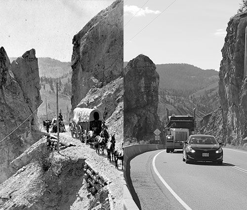 The Great Bluff on the Cariboo Trail in the Thompson/Fraser Canyons in1868 [left by Frederick Dally] and 2013 [right by Don Bourdon], courtesy Royal BC Museum.