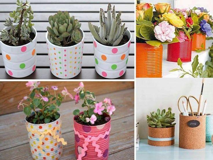 Maceteros originales hechos con latas pintadas a mano for Como decorar un jardin con macetas