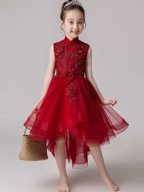 Embroidery Sequined Applique Stand Collar Sleeveless Long