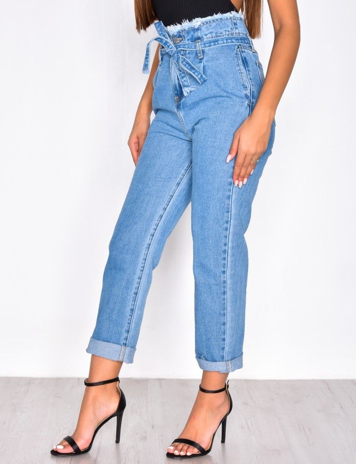 Mom jeans taille haute à nouer   fashion   Jeans, Trousers, Mom jeans 611d85559f8