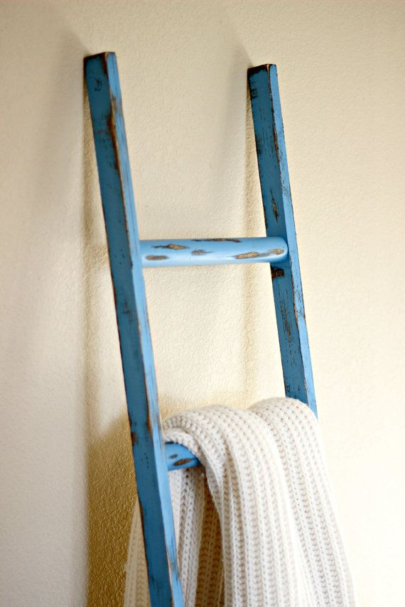 Blue Rustic Decorative Ladder Great Accent Piece As A
