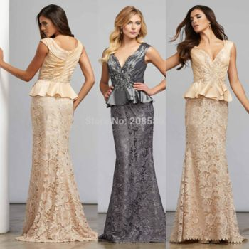 Free Shipping V Neck Champagne Dark Grey Mermaid Mother of the Bride Lace Dresses Gown Peplum Beads 2015 M2159