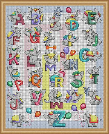 Elephant ABC Large sampler design featuring a sweet and playful elephant for each letter of the alphabet, stitch this gorgeous picture for someone special ! Size 160 x 200 stitches - cross stitch
