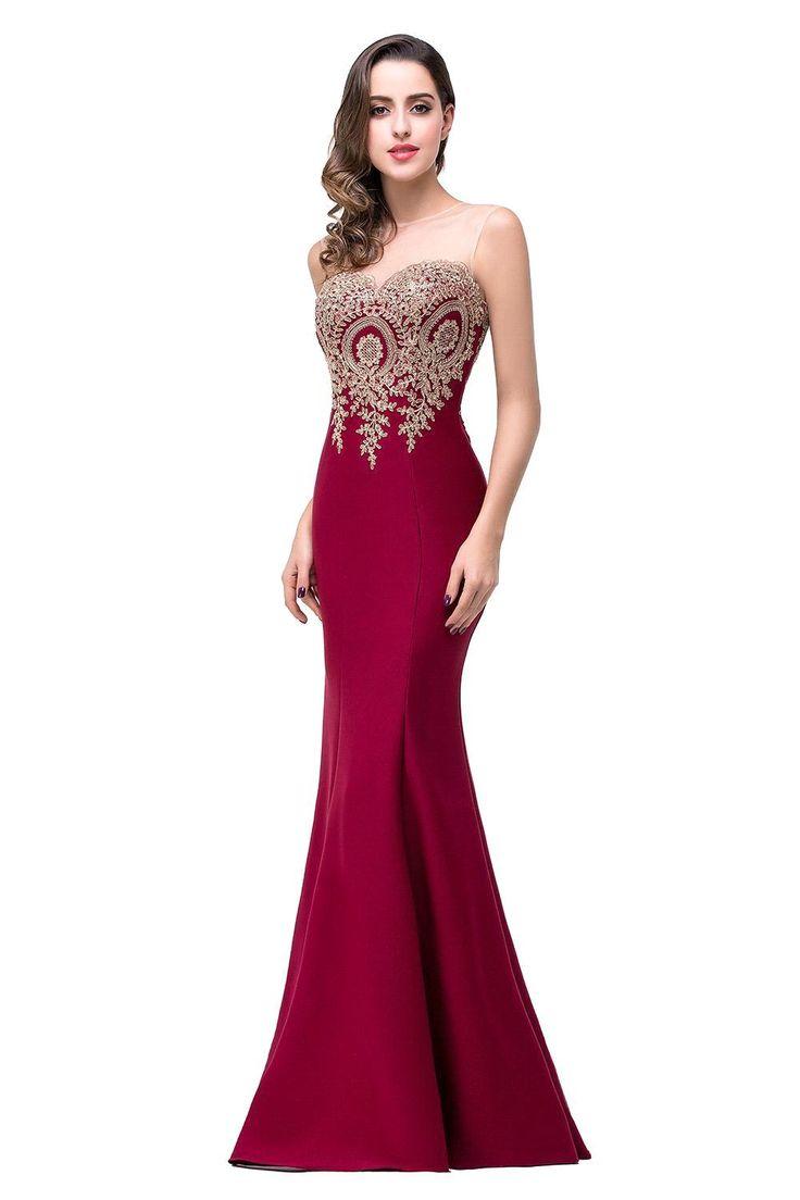 2016 new mermaid burgunday prom dress