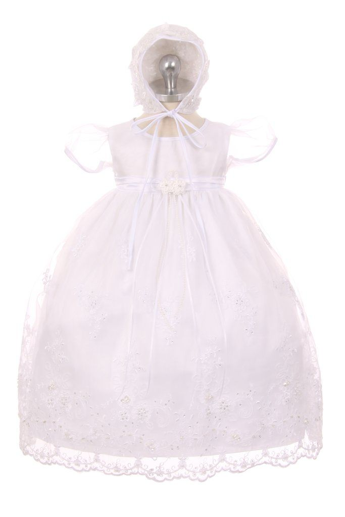 Perfect Christening dress comes with matching lace bonnet | Bisou Baby  #christeningdress #babybonnet #handmadelacebonnet #christeningoutfit #christeningbaby #bisoubaby #christening #baptism