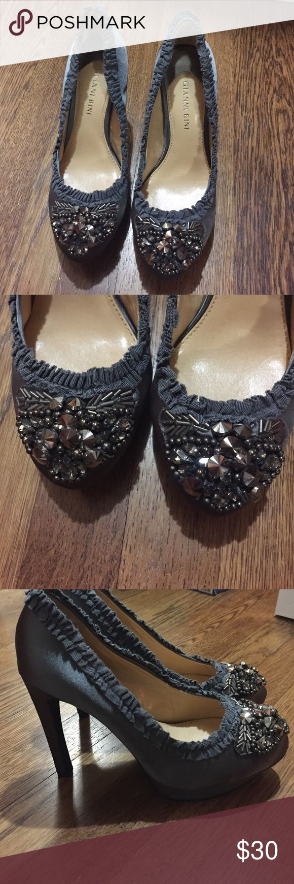 Gianni bini grey satin jeweled pumps No jewels missing! Beautiful satin grey pumps with ruched side detail. Great condition!!! Gianni Bini Shoes Heels