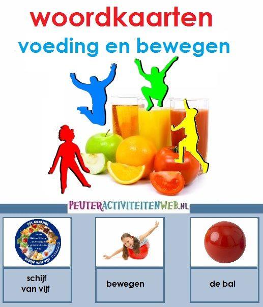 woordkaarten voeding en bewegen| educatief en creatief thema voor kinderen in de Kinderopvang/Gastouderopvang|woordkaarten