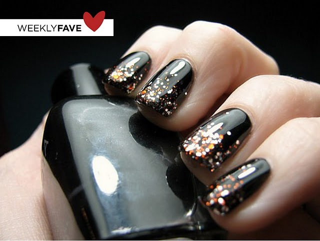 More glitter tips. This time over gloss black