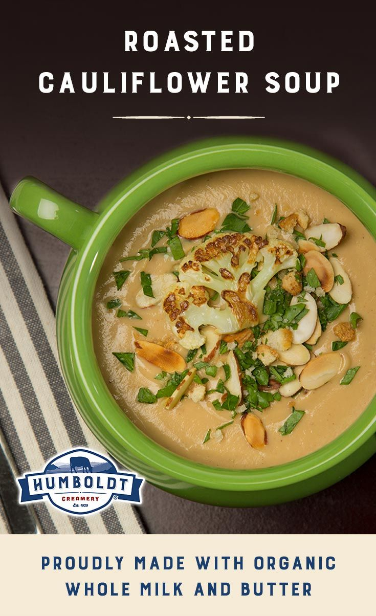 We love a creamy yet healthy soup. This roasted cauliflower soup uses just enough organic butter and milk to make a deliciously creamy winter dinner but is packed full of healthy cauliflower. Get the recipe.