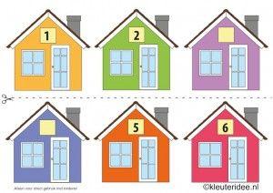 CITOvaardigheden voor kleuters, Welk nummer heeft het huisje in de straat 1, What number is the house in the street, free printable