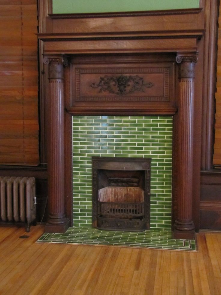 Awesome Green Color Glass Subway Tiles Fireplace Surround And Combine With Brown Wooden Floor Also Brown Color Wooden Window Blinds As Well As Tile Around Fireplace Ideas Plus Wall Tile Installation, Great Design Ideas Of Glass Mosaic Fireplace Surround: Interior