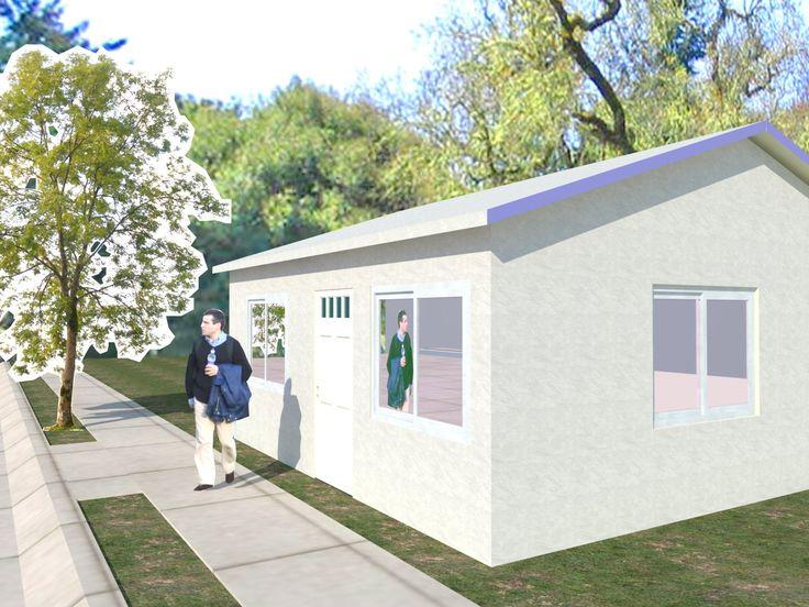 Planos vivienda 1 dormitorio con techo inclinado (puede ser a una o dos aguas) de un dormitorio, cocina, living y un baño. Construcción en seco de calidad.