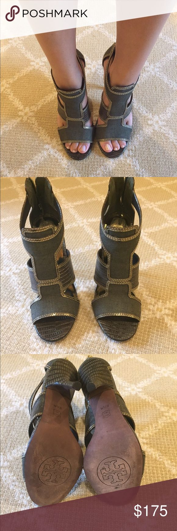 Tory burch Cage heel sandal Size 8 1/2 Tory Burch cage heel sandal in beautiful green color.  Perfect for fall.  Zipper up the back heel. Tory Burch Shoes Heels