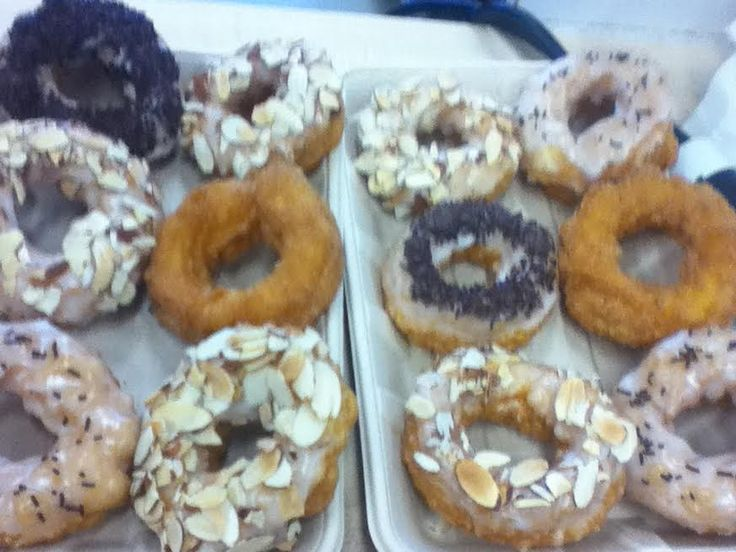 French Crullers. Different icing and toppings. Feb.2016