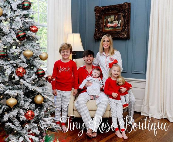 Adult Christmas Pajamas, Personalized Matching Holiday PJs  - PRE ORDER - Monogram Included