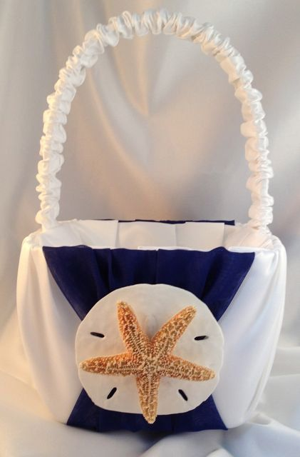 Beach Flower Girl Basket with Starfish and Sand by 2have2hold