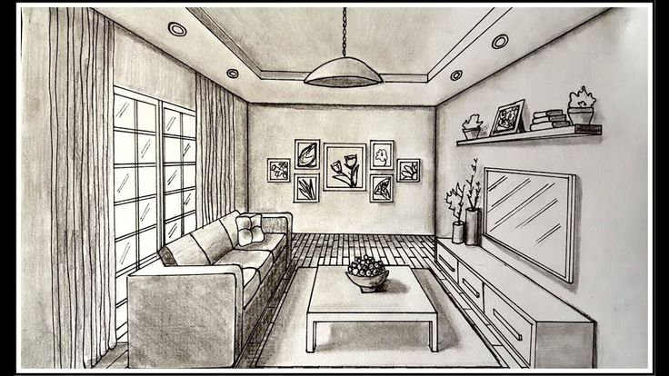 Drawing a living room in one point perspective drawing a - One point perspective drawing living room ...