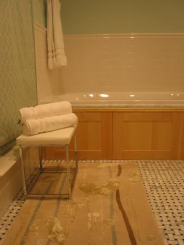 tub deck using ikea Adel birch doors