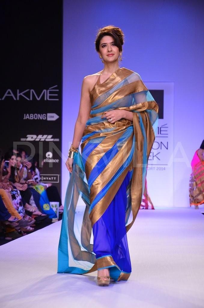 Sarees by Mandira Bedi https://www.facebook.com/MandiraBediDesigns at Lakme Fashion Week 2014