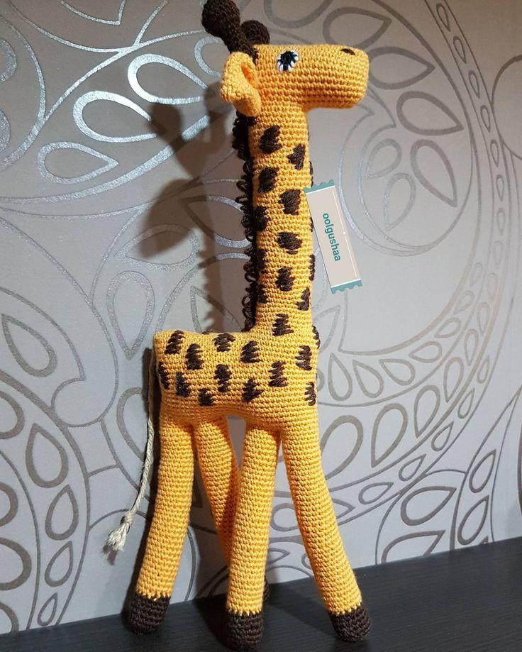 37 cm  háčkovaná žirafa - háčkovanie podľa detskej kresby...