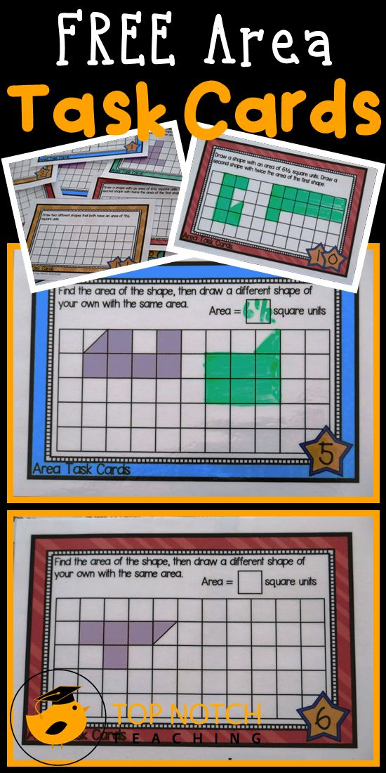 Here are some free task cards that you can use with your students to review area. Great for math centers and for individual practice.