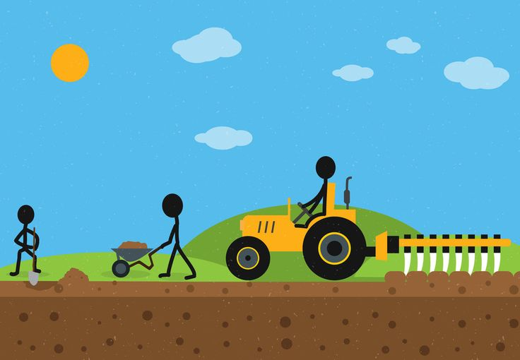 Building a Perfect Foundation by George Mussel       #illustration #editorialillustration #editorial #art #drawing  #stickfigure #stick #figure  #onlinemarketing #farm #farming #farmer #contentmarketing #content #seo #linkbuilding