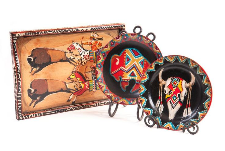 Hand Painted Serving Tray and Plates • Buffalo Collection