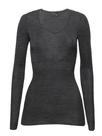 Kvinner Topper Pierre Robert Wool Collection Wool Top Long Sleeve Steel grey melange  str m/l  Fåes kjøpt i matbutiker