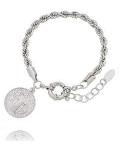 pulseira sao bento medalha rodio branco prata semijoias