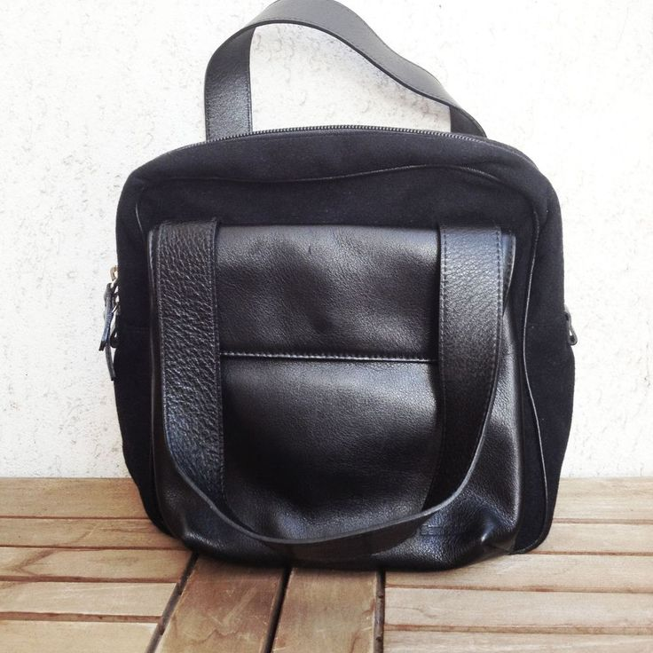 BORSA SAMSONITE BAG handbag BLACK MIXED  LEATHER FABRIC MADE IN ITALY