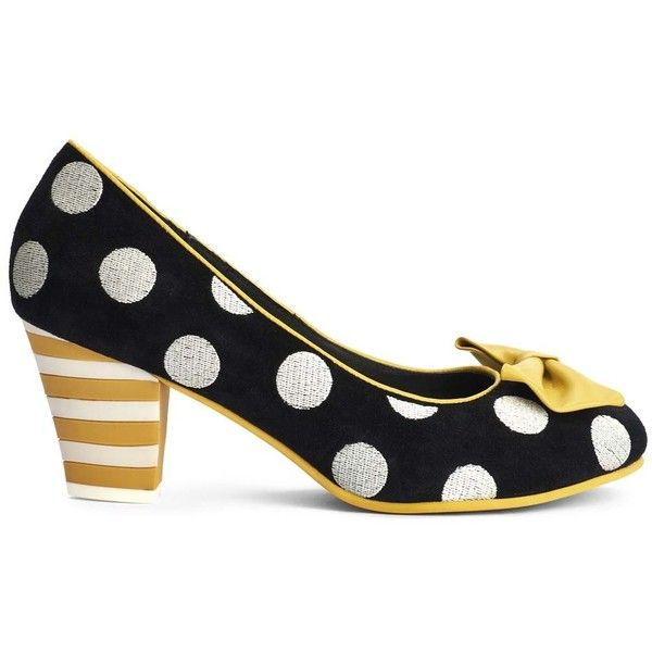 Lola Ramona Black & White Suede Polka Dot Elsie Pump ($70) ❤ liked on Polyvore featuring shoes, pumps, plus size, polka dot shoes, white and black pumps, mid-heel shoes, black and white polka dot pumps and black and white pumps