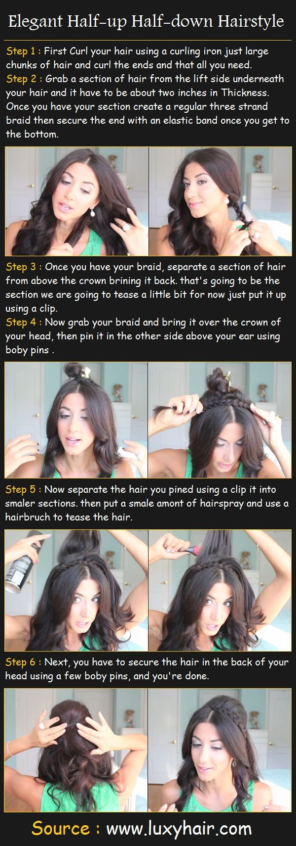 Elegant Half-up Half-down Hairstyle: Hair Ideas, Half Down Hairstyles, Updo Braids Hairstyles, Hairstyles Tutorials, Elegant Half Up, Hair Style, Hairstyles Ideas, Half Up Hairstyles, Elegant Hairstyles