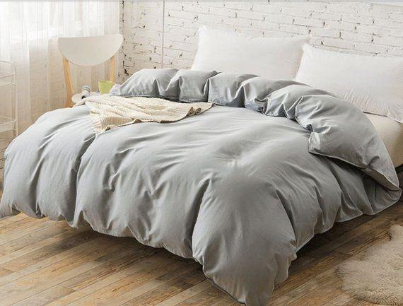 Coin Grey Linen Duvet Coverlight Gray Linen Bedding Etsy Linen Duvet Covers Linen Duvet Cover Grey White Linen Bedding
