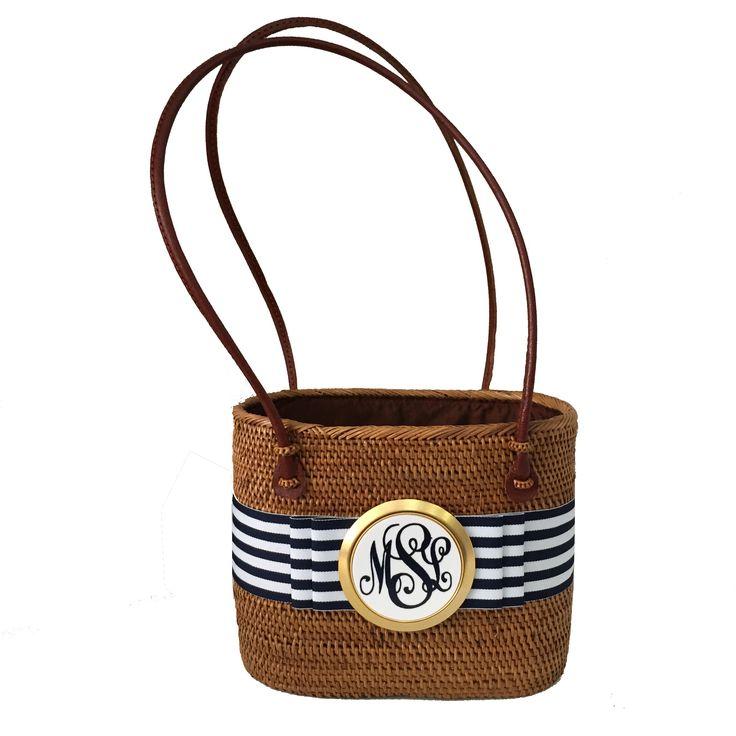 Monogrammed bali woven bag handmade customized