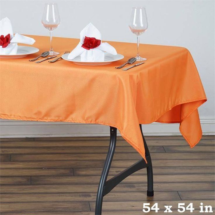 """54x54"""" Orange Wholesale Seamless Polyester Square Linen Tablecloth For Wedding Banquet Party Restaurant"""