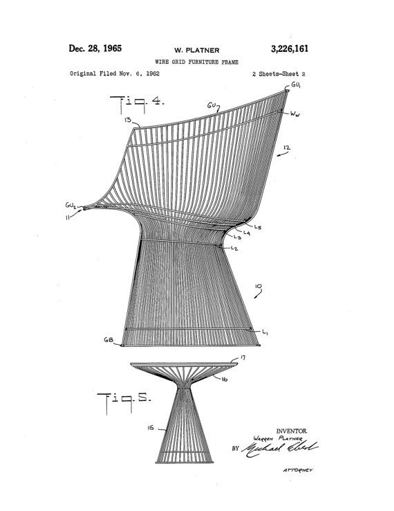 Print of original patent application rendering submitted by Warren Platner for his chair and table.