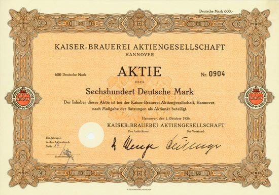HWPH AG - Historische Wertpapiere - Kaiser-Brauerei AG Hannover, 01.10.1956, Aktie über 600 DM